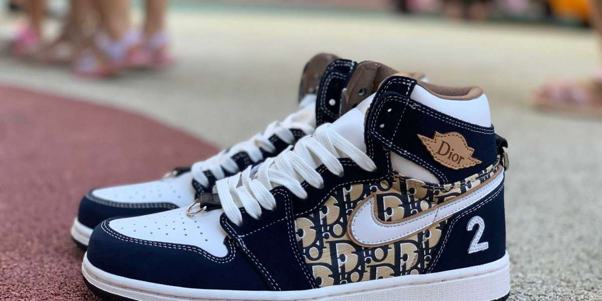 Dior x Air Jordan 1 Navy Blue/White-Brown To Buy